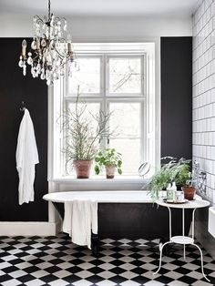 House In Lund Sweden Built In 1861 Ph Andrea Papini Styling Bathroom Chandelierblack White