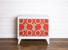 Vintage/Retro chest of drawers with red/orange by UpcycledRetro