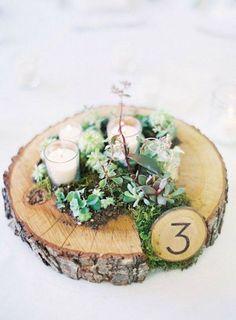 succulent moss and votive wedding centerpiece / http://www.deerpearlflowers.com/unique-wedding-centerpiece-ideas/5/