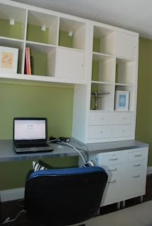 Need to create a home office on a budget? Here's how to create a DIY home office for two using IKEA cabinets. Create an L shaped desk with this IKEA Expedit hack. This is an intermediate DIY project. Ikea Office Storage, Ikea Office Hack, Home Office Organization, Ikea Shelves, Diy Storage, Office Shelf, Box Shelves, Wall Storage, Floating Shelves