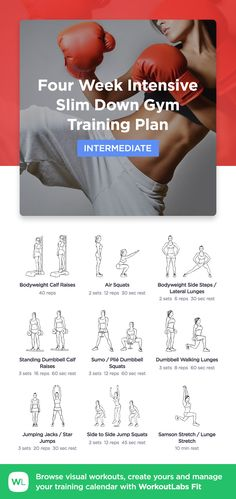 Four Week Intensive Slim Down training plan by WorkoutLabs Fit · View and download printable PDF: https://workoutlabs.com/s/O3nTD