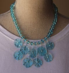 Necklace made from a Bombay Sapphire Gin bottle - handmade recycled glass beads