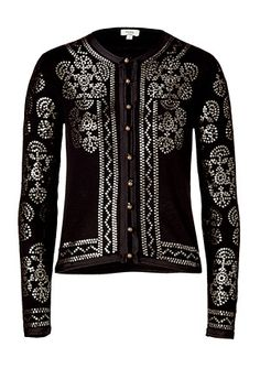 HOSS INTROPIA  Black embroidered cardigan