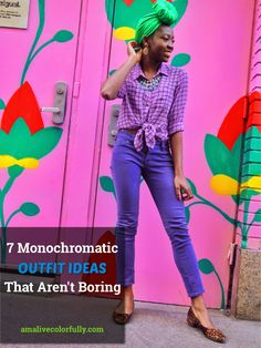 Colorful style blogger provides women with tips on how to put together monochromatic ensembles with 7 monchromatic outfit ideas that are far from boring. // street style monochromatic outfits, classy monochromatic outfit ideas, purple outfits Purple Outfits, Colourful Outfits, Colorful Fashion, Cute Outfits, Summer Outfits, Black Girl Fashion, Women's Fashion, Spring Fashion, Pink Photography