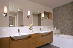 Long Narrow Bathroom Ideas 10X6 | Long narrow Danish bathroom design with individual mirrors & three ...