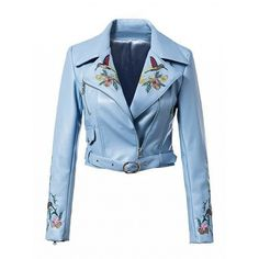Choies Blue Lapel Embroidery Floral Leather Look Biker Jacket ($60) ❤ liked on Polyvore featuring outerwear, jackets, blue, motorcycle jackets, embroidered jacket, vegan moto jacket, faux leather biker jacket and faux leather motorcycle jacket