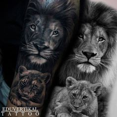 lion eyes tattoo Nature is part of Best Lion Tattoo Collection Of Wild Tattoo Art - Maybe with 2 cub heads and one with pink eyes and one with green Lion Cub Tattoo, Cubs Tattoo, Lion Tattoo Design, Music Tattoo Designs, Forarm Tattoos, Dad Tattoos, Family Tattoos, Body Art Tattoos, Tattoos For Guys