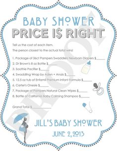 Personalized Price is Right Baby Shower Game Blue by PoshPapetiere