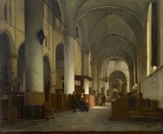 Jan Jacob Schenkel (1829-1900)  Interior of the Grote Kerk, Naarden, oil on panel 51.6 x 62.9 cm., signed l.r. Collection Simonis & Buunk, The Netherlands.