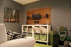 Gray, Green, and White: A Multi-Purpose Home Office - Gallery Ikea cubbies as TV stand Spare Bedroom Office, Spare Room, Home Office, Ikea Cubbies, Basement Guest Rooms, Basement Ideas, Multipurpose Room, Plank Walls, Office Makeover