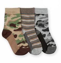 Jefferies Toddler//Little Boy/'s 3-Pairs Camouflage Stripe Khaki Crew Socks