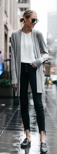 #spring #outfits woman wearing white crew-neck top and gray cardigan posing on street. Pic by @fashion_jackson