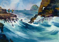 Fishing on Koko Head, Oahu, California art by Sid Bingham. HD giclee art prints for sale at CaliforniaWatercolor.com - original California paintings, & premium giclee prints for sale
