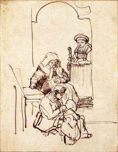 Three Women and a Child by a Doorway by Rembrandt Van Rijn