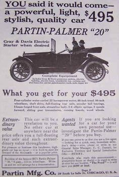 1914 Partin-Palmer Automobile Advertisement