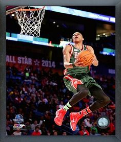 Giannis Antetokounmpo Milwaukee Bucks 201314 NBA Action Photo Size 17 x 21 Framed ** Want additional info? Click on the image.