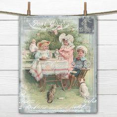 Digital Vintage Tea Party, Children's Tea Download, Victorian Tea Collage, Postcard Digital Image, Printable Nursery Decor by…