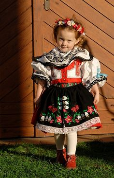 little girl in czech folk costume