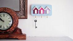 Spray. Shabby Chic Beach Hut Key Rack, Three Hooks for Keys, Handmade, Shades of Pink, This is Our 'Spray' Colour Scheme