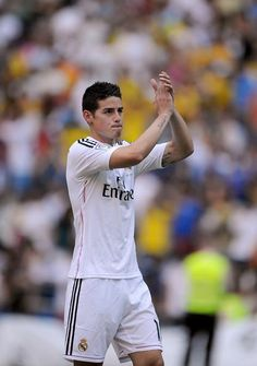 James wearing Real Madrid Jersey for the first time. #realmadrid