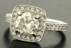EGL USA certified 14K WG 2.34CT diamond wedding/engagement ring w/1.74CT center~