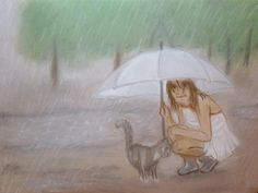 Made To Order Original Painting Girl And Cat Rain Animals Pastel Baby