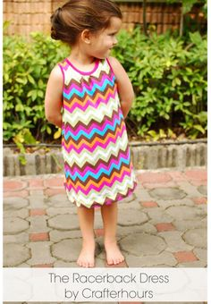 Racerback Dress by Crafterhours.  Tutorial with free {FREE} printable pattern (includes size 12 mo- to 6 years).