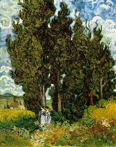 Van Gogh Museum | VINCENT VAN GOGH. Cipreses con dos figuras de mujer (1889) Otterlo ...