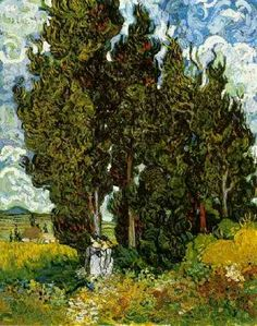 Vincent van Gogh: The Oil Paintings: Cypresses with Two Female Figures. Saint-Rémy: June, 1889