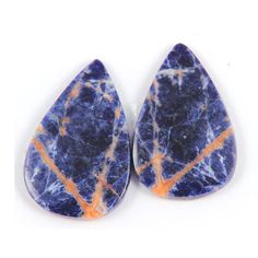 30.45 Cts Natural Sodalite Pear Shape 30x20x3 Earring Pair Loose Gemstones #BhagwatiJewels