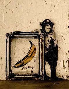 Andy Warhol and the chimp / street art Graffiti Art, Street Art Banksy, Arte Banksy, Banksy Art, Bansky, Urban Street Art, Urban Art, Land Art, Andy Warhol