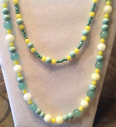 """Fall Collection 2015---Greens and Yellows in a beaded 26"""" necklace - pinned by pin4etsy.com"""