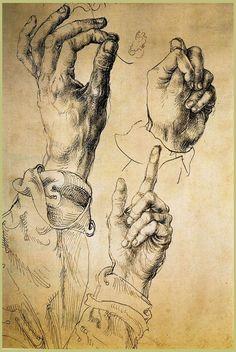 red-lipstick:  Albrecht Dürer (1471-1528, Nuremberg, Germany) - Study Of Three Hands, 1493-94  Drawings: Pen, Brown Black Ink