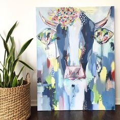Cow painting by Andreina Bates.  Art for the home, living room, kitchen decor, cow painting, abstract cow, colorful cow, art collectors, country living, farm decor
