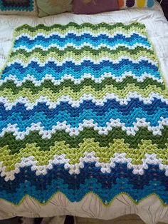 Crochet Granny Ripple Afghan love the colors and look - so pretty