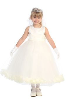 Ivory Satin & Tulle Flower Girl Dress with Petals & Sash