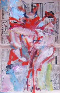 "Willem de Kooning    Untitled - oil paint on newsprint, Village Voice, 1976 22.5""x14.5"""