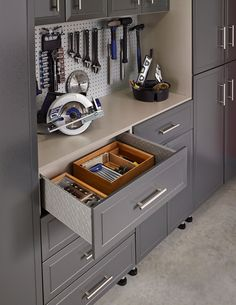 Shop ClosetMaid-US online. Extended site store for ClosetMaid Garage Workshop Organization, Small Kitchen Organization, Shop Storage, Garage Storage, Custom Pool Tables, Tool Drawers, Garage House, Home Decor Trends, Home Builders