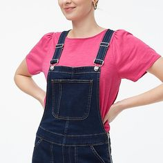 J.Crew Factory: Skinny Overalls In Deep Tidal Blue Wash For Women Skinny Overalls, Jean Overalls, Discount Mens Clothing, J Crew Style, Overall Shorts, Kids Outfits, Clothes For Women, Thigh, Deep
