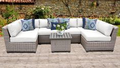 Florence 7 Piece Outdoor Wicker Patio Furniture Set in Sail White - TK Classics Florence Collection creates a warm, inviting and durable seating area that compliments its surroundings with subtle grey and natural hues. Resin Patio Furniture, Outdoor Wicker Patio Furniture, Patio Furniture Cushions, Backyard Furniture, Outdoor Decor, Rustic Furniture, Antique Furniture, Office Furniture, Furniture Decor