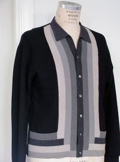 Vintage -The Hastings Black and Gray Striped Men's Cardigan Sweater Cool Sweaters, Vintage Sweaters, Sweaters For Women, Men Sweater, 1950s Shirts, African Shirts, Casual Wear For Men, Vintage Wear, Vintage Style