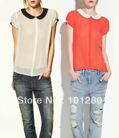 Free shipping new 2014 shirt women's chiffon blouses spring summer fashion casual shirt peter pan collar tops   sh731 $12.37
