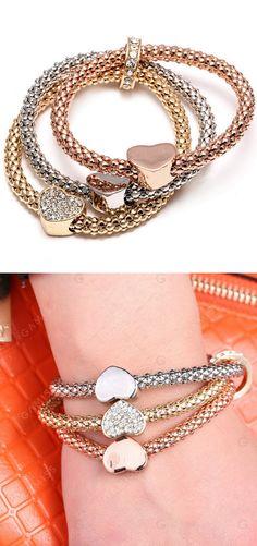 Rhinestone heart bracelet set.
