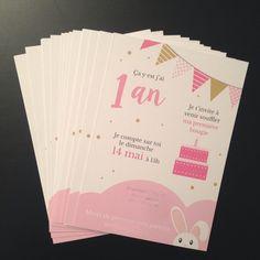 Pour inviter les amis de vos enfants ou sa famille, rien de mieux qu'une petite carte d'invitation aux couleurs douces et pastels. Réalisée ici pour un premier anniversaire, la c - 20040801