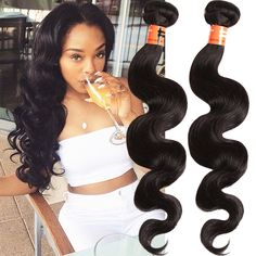 100% Weft Human Hair Extensions Brazilian Bundle Black Hair Body Weave Hot 6A #WIGISS #HairExtension