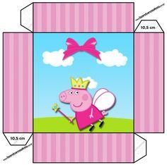 Convite Caixa Tampa Peppa Pig Princesa: