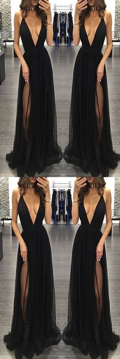 Sexy Deep V-Neck Black Tulle Long Prom/Evening Dress#eveningdresses#promdress2018#prom#blackpromdress#sexypromdresses