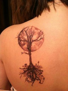 Tattoo tree moon