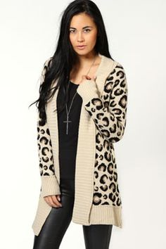 Laura leopard Edge To Edge Cardigan