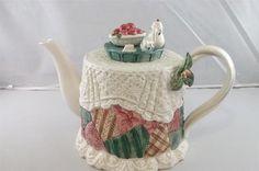 Fitz Floyd Christmas Tea Party Patchwork Teapot 1992 | eBay